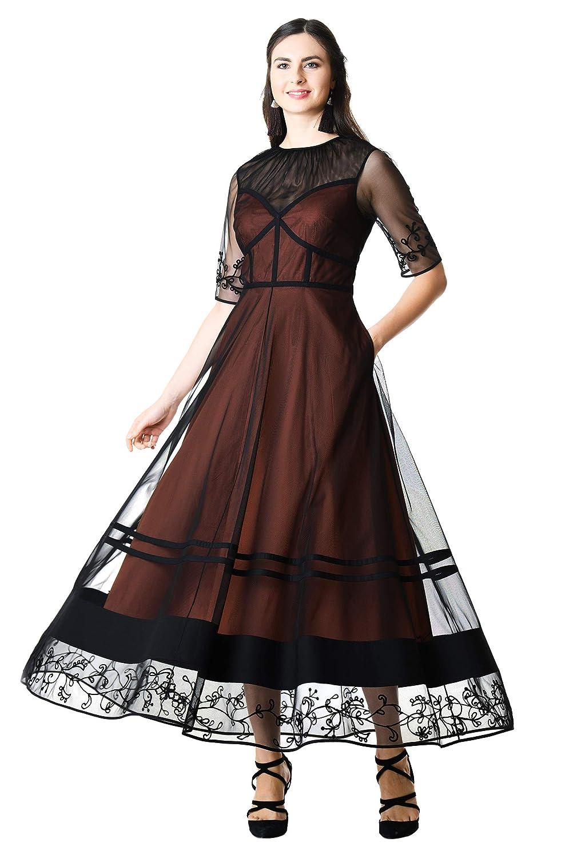 Steampunk Dresses | Women & Girl Costumes eShakti Womens Floral Wool Embroidered Tulle Layer poplin Dress $114.95 AT vintagedancer.com