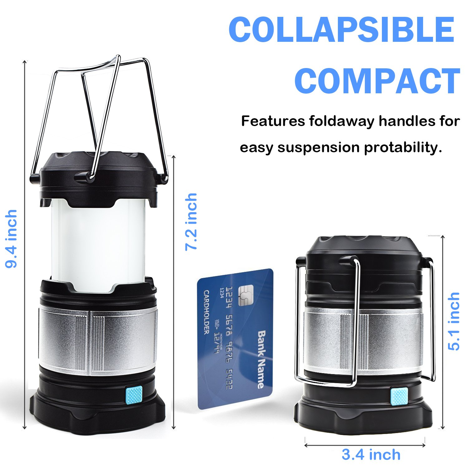 Alcoon 2 Packs Rechargeable LED Camping Lantern Light Lamp with 5600mAh Power Bank, Portable Collapsible Waterproof Outdoor Light with 18650 Li-ion Batteries for Camping Traveling Tent, Emergency by Alcoon (Image #3)