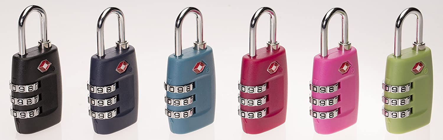 MoDA Travel 3 Dial TSA Recognized Resettable Combination Luggage Lock ABS Casing MT-4029US-PagodaBlue