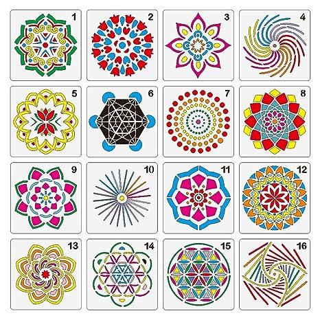 kekai Plantilla de 16 Plantillas de Puntos de Mandala, Plantillas de Mandala de 13 x