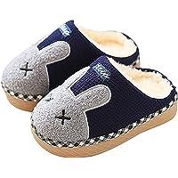 SITAILE Pantofole Bambine Bambini Morbide Scarpe di Cotone con Coniglio Antiscivolo e Calde Pelliccia Interno Ciabatte Invernali per Felice Natale
