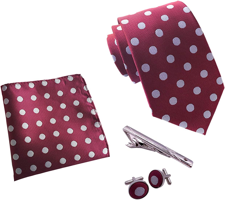 BESMODZ Mens Wedding Formal Neckties Cufflinks Pocket Squares and Ties Clip Set