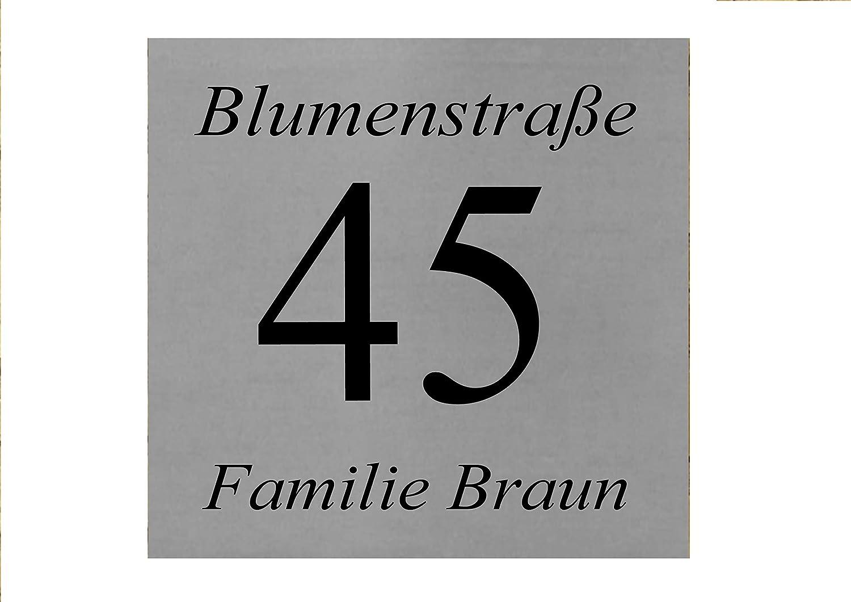 ID Hausnummer Schild mit Gravur nach Wunsch Edelstahl in 5 Grö ß en mit 4 Bohrungen (20x20 cm) aplusashop