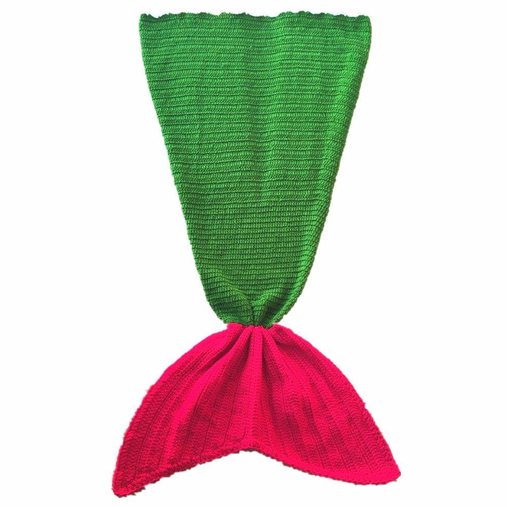 HandニットマーメイドテールBlanketかぎ針編み赤ちゃんガールズスーパーソフトコットンSleeping Bags forクリスマスギフト B01MQUWAGA