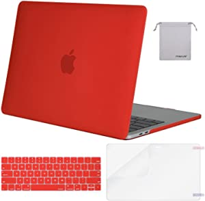 MOSISO MacBook Pro 13 inch Case 2019 2018 2017 2016 Release A2159 A1989 A1706 A1708, Plastic Hard Shell Case&Keyboard Cover&Screen Protector&Storage Bag Compatible with MacBook Pro 13, Red