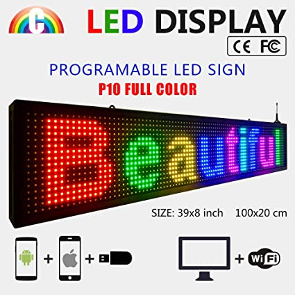 CT Colorful P10 - Cartel LED con texto en inglés: Amazon.es ...