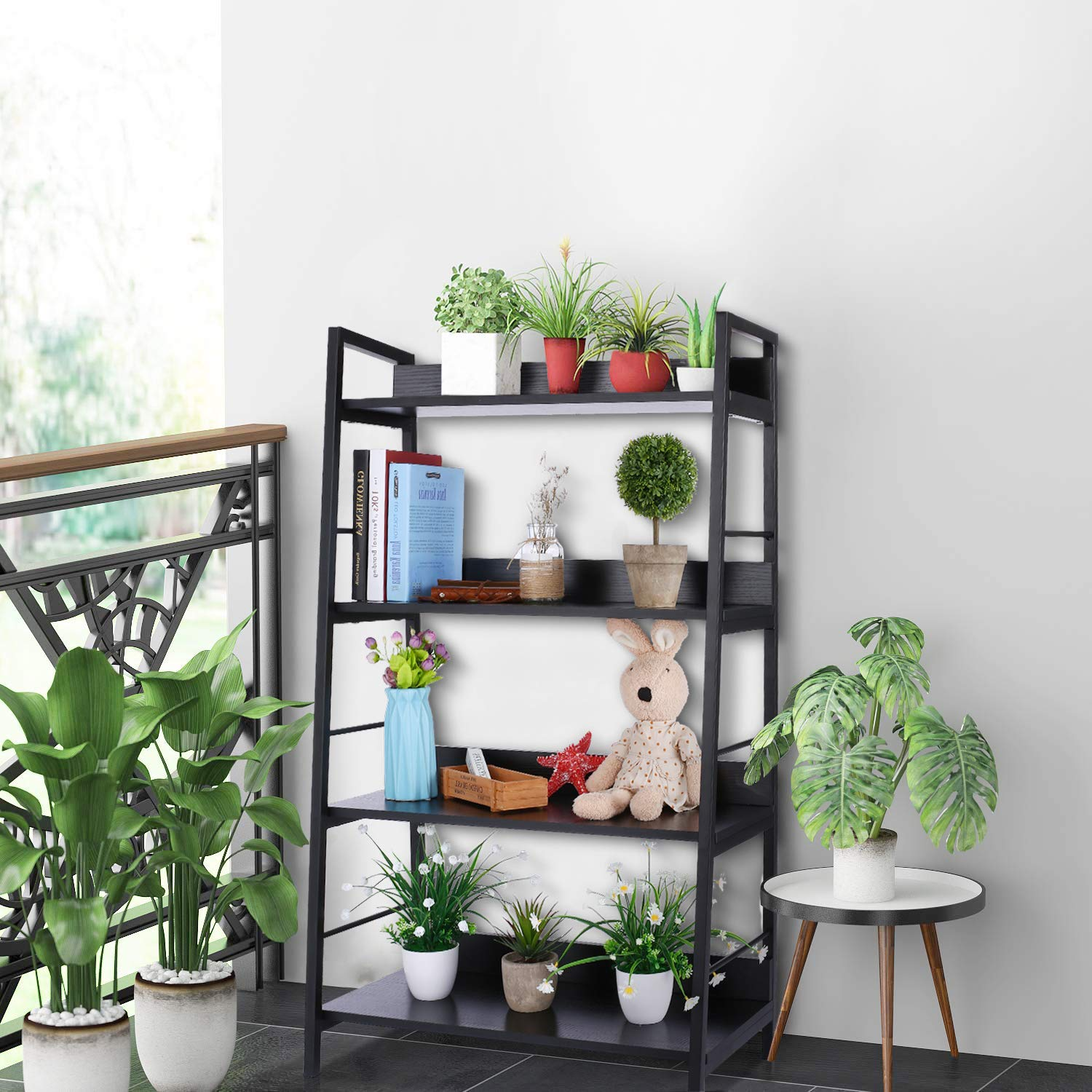 Yincuiok Ladder Bookshelf 4 Shelf Wood Metal Open Bookcase Industrial Modern Rustic Tall Trestle Bookcases for Home Office, Rustic Black