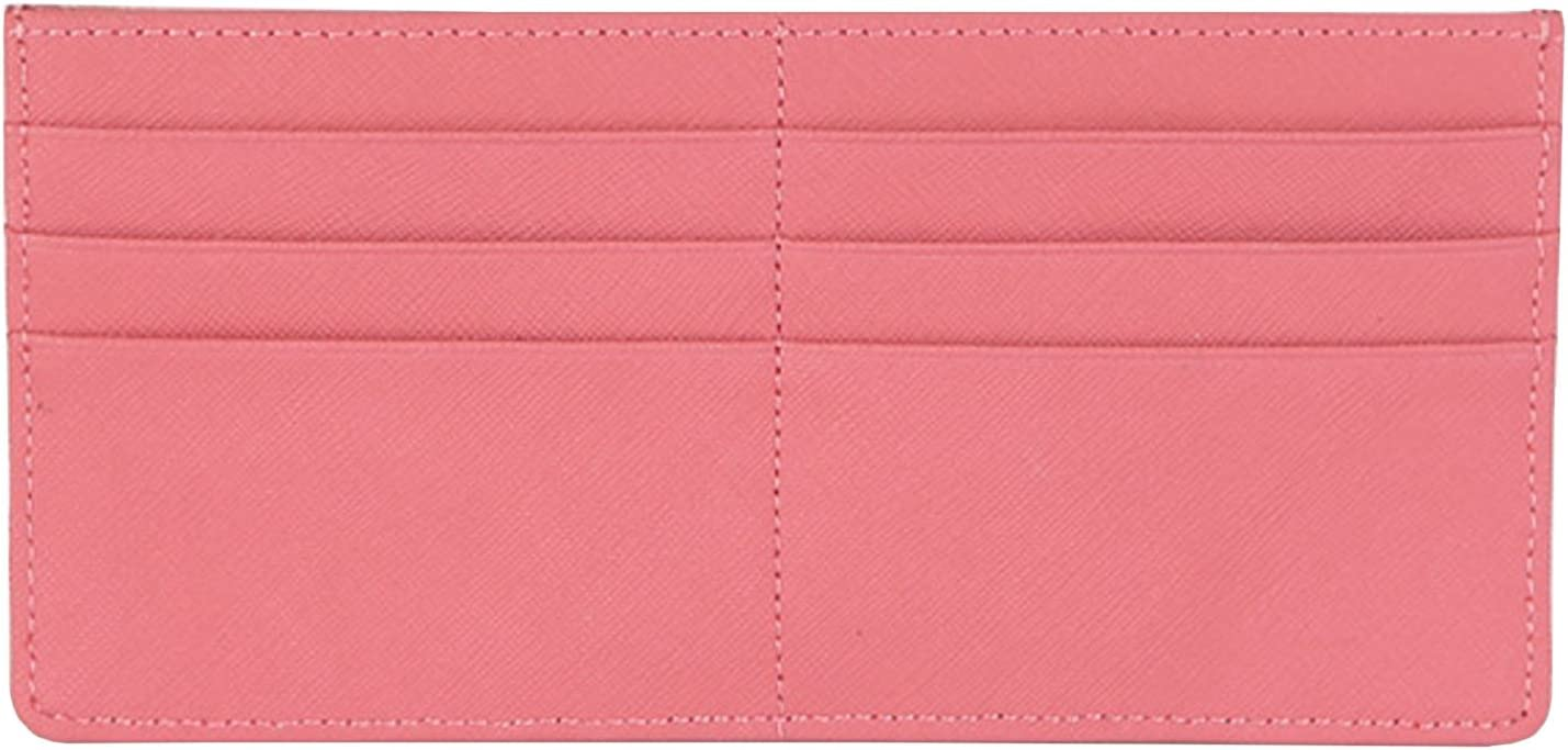 Women's Credit Card Slim Leather Wallet Zipper Pocket Purse for Clutch Bag Pink