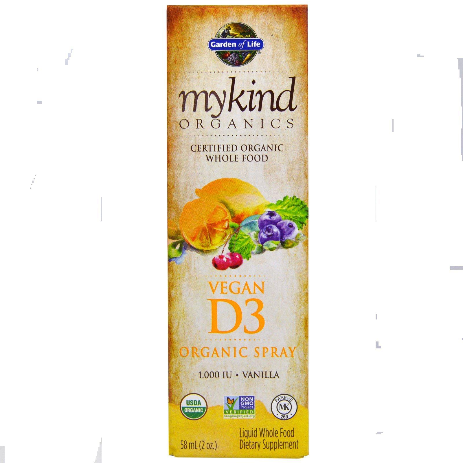 Garden of Life, MyKind Organics, Vegan D3, Vanilla Spray, 1,000 IU, 2 oz (58 ml)