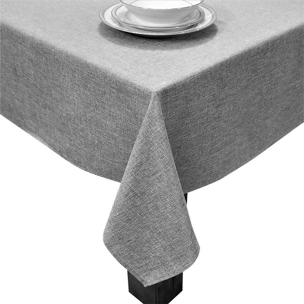 HomChic, Linen Look,Washable, Spill Proof, Heavy Weight, Treated Polyester Tablecloth, 60 x 84 inch Rectangle Grey