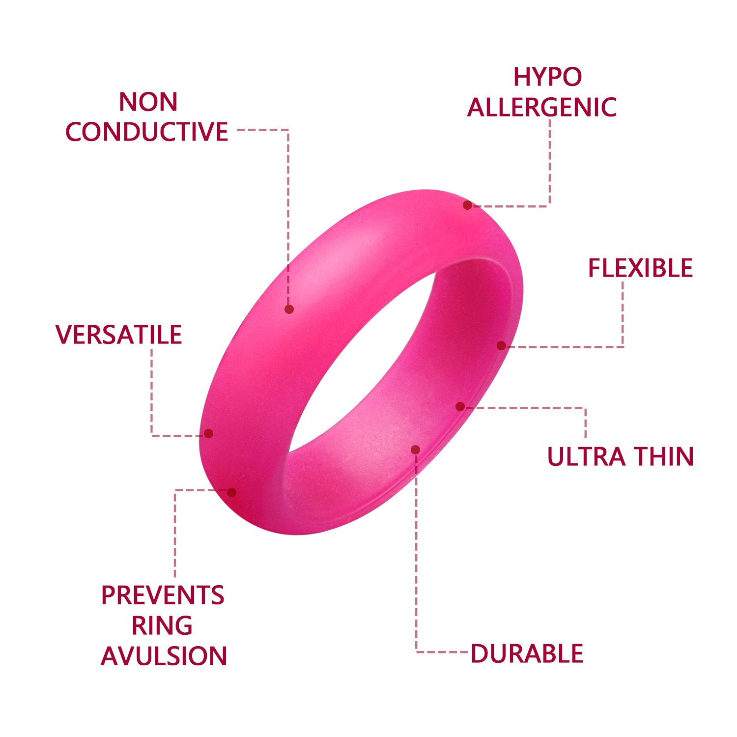 Amazon.com : Egnaro Silicone Wedding Rings, Wedding Rings for Women ...