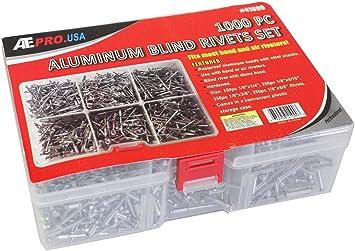 "1000pc 1//8/"" Aluminum Blind Pop Rivet Assortment 4 Hand//Air Riveter Gun Rivet Set"