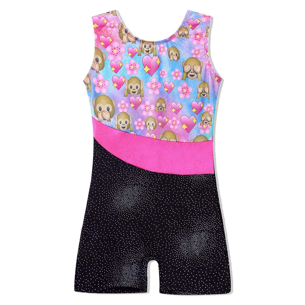 TFJH E One-Piece Bling Gymnastics Biketard for Little Girl Dancing Tank Outfits Monkey 120