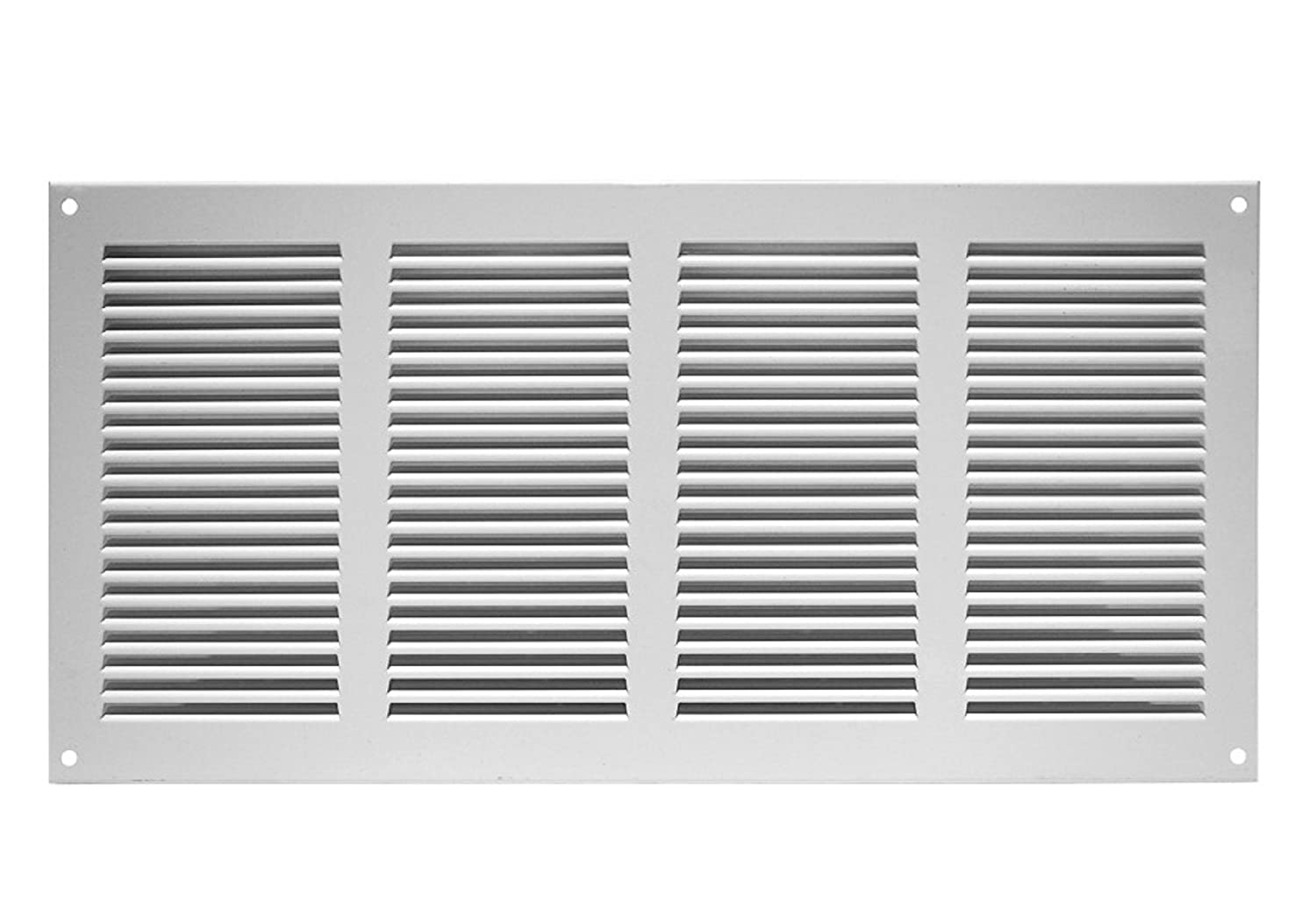Air Vent Grille Cover 400 x 200mm (15 x 8inch) White Ventilation Cover, Metal, with Insect Protection , mr4020 Europlast