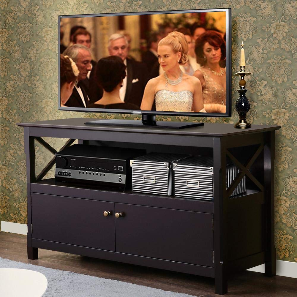 Yaheetech X Shape TV Stand Base Console Storage Cabinet Home Media Entertainment Center with 2 Doors Wood by Yaheetech