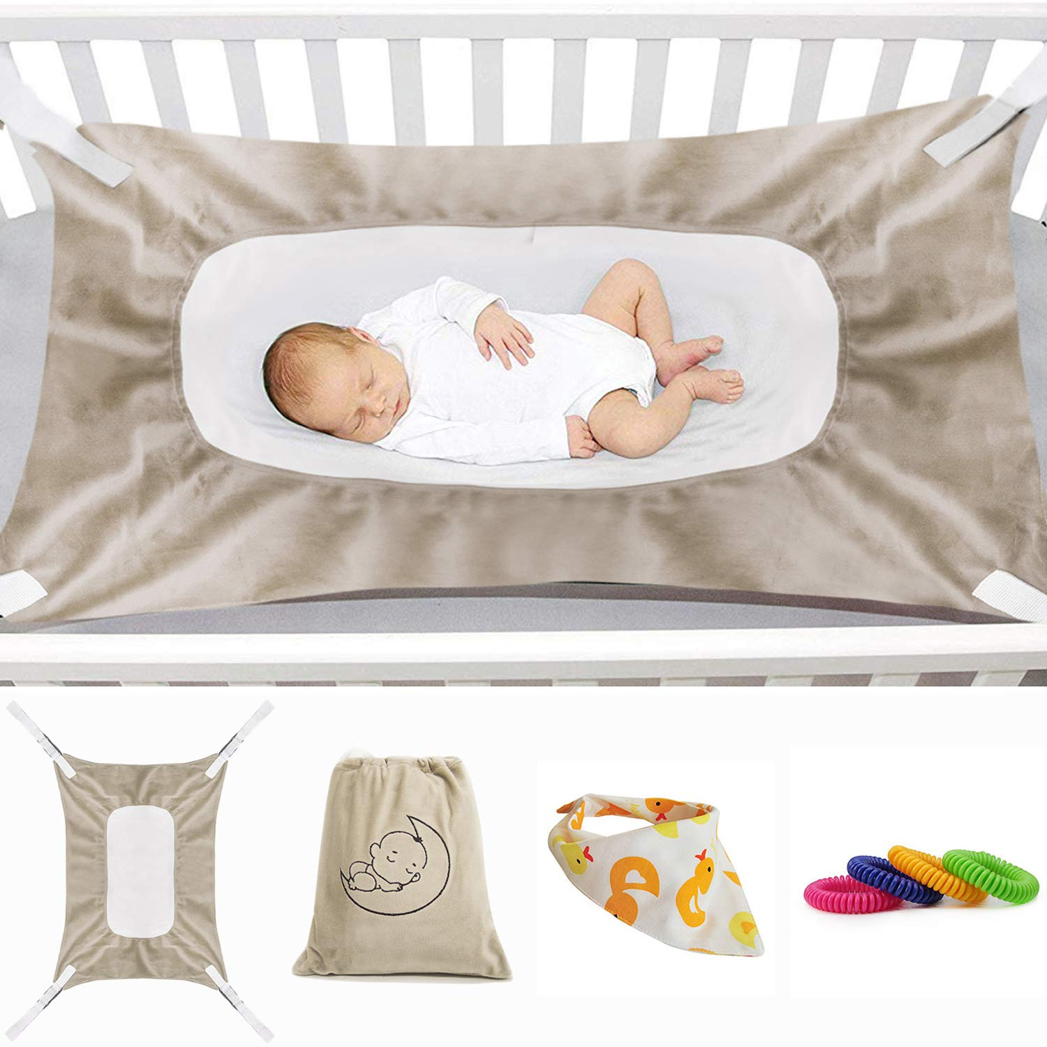 Baby Hammock for Crib New Upgrade, Mimics Womb Soft and Comfortable Material with Strong Adjustable Straps Newborn Hammock (Light Brown)
