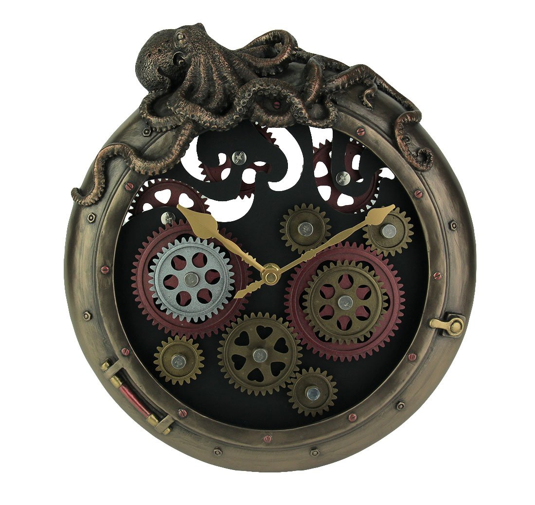Resin Wall Clocks Steampunk Bronze Finish Octopus Porthole Wall Clock With Moving Gears 10.75 X 12.25 X 2.75 Inches Bronze