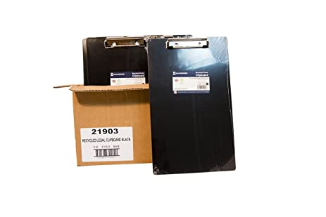 Saunders Legal Size Recycled Plastic Clipboards, Black, Box Of 12, (21903)