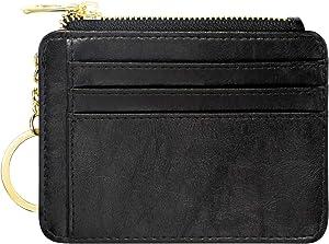 Padike Womens Slim Credit Card Holder Mini Front Pocket Wallet Coin Purse Keychain (Black-1)