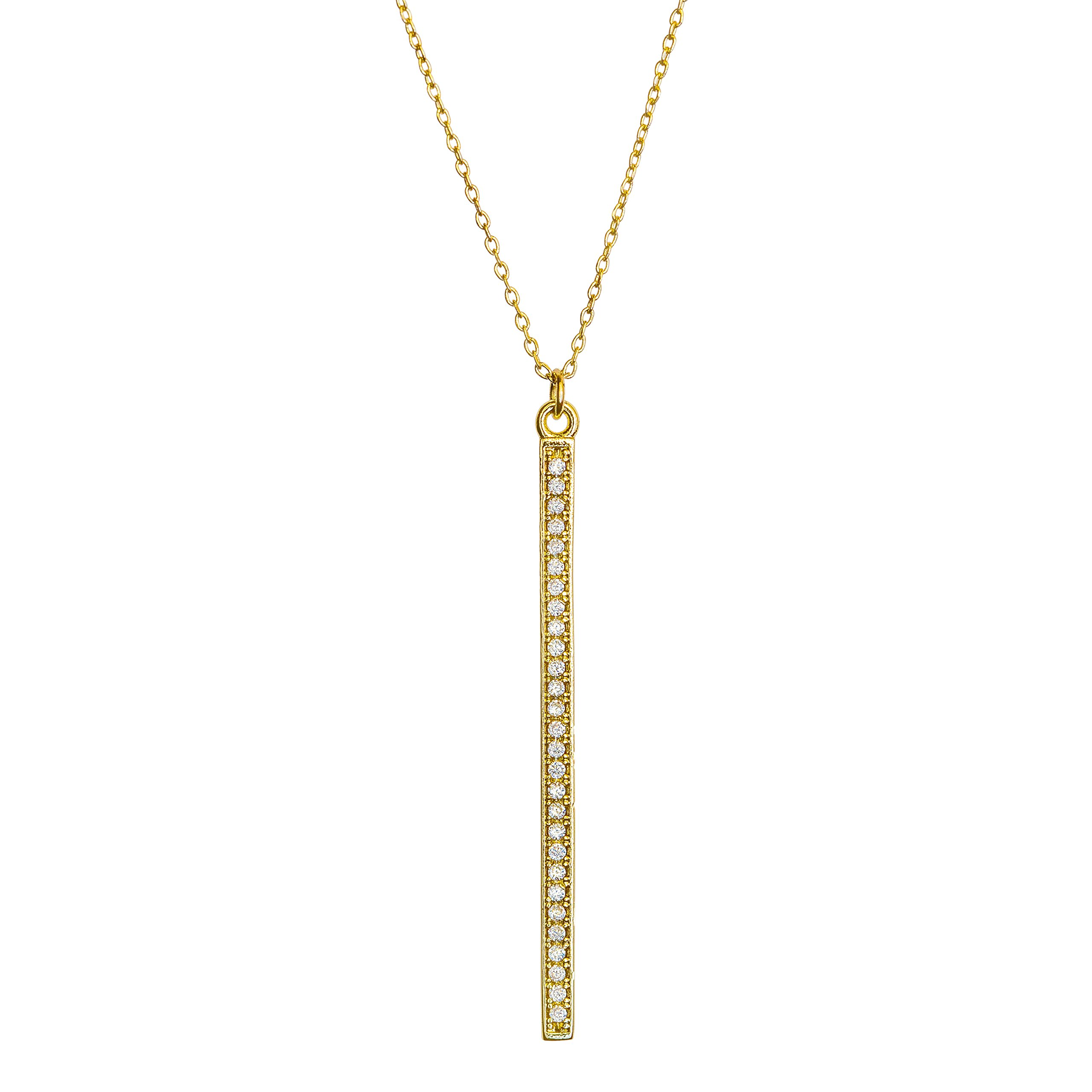 Benevolence LA Gold Necklace Lariat Drop Y Vertical Bar: 14k Gold Diamond Shaped Open Circle Cubic Zirconia Looped Long Chain Necklaces for Women Designed by Candace Cameron Bure (Vertical Bar)