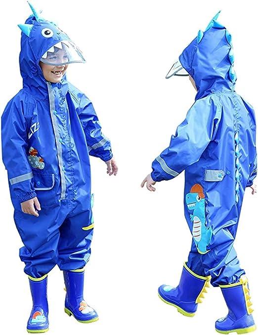 Baogaier Regenmantel Atmungsaktiv Wasserdicht Kinder M/ädchen Jungen Kapuze Leicht Regenanzug Einteilig Outdoor Regenponcho Overall Regen Regenjacken 1-10 Jahre