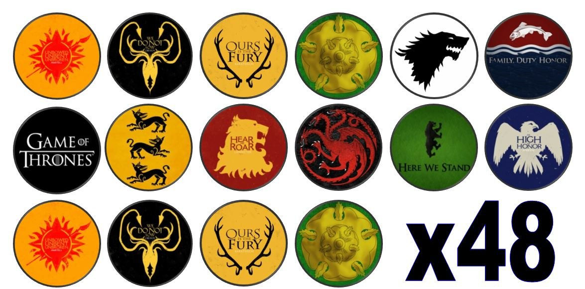 24 Precut 40mm Round Game Of Thrones Character Edible Wafer Paper Cake Toppers