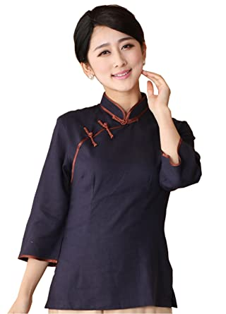 dc69c14049e9 Shanghai Story Long Sleeve Chinese Blouse Women s Linen Qipao Shirt S Navy