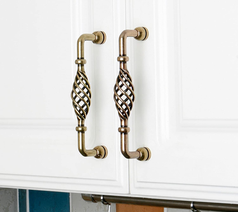 Set of 4pcs Drawer Handles or Knobs Ceramic Zinc Alloy Metal Steel Door Handles and Pulls for Cupboard Cabinet Drawer JP3001-BZ : 4 Handles