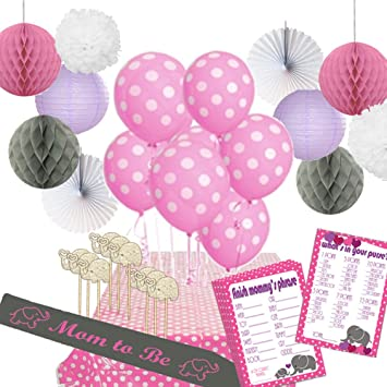 44 Piece Elephant Love Baby Shower Decoration Kit For Girls Hosts 12 Pink Gray Elephant