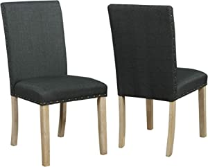 Nathaniel Home Dining Chair, Wood Legs, Padded seat, Nail-Head Trims, Linen Fabric,Tufted Dining Room Chairs,Ideal for Dining Room, Kitchen, Living Room, Restaurant, Cafe, Set of 2 (Black 61232-18)