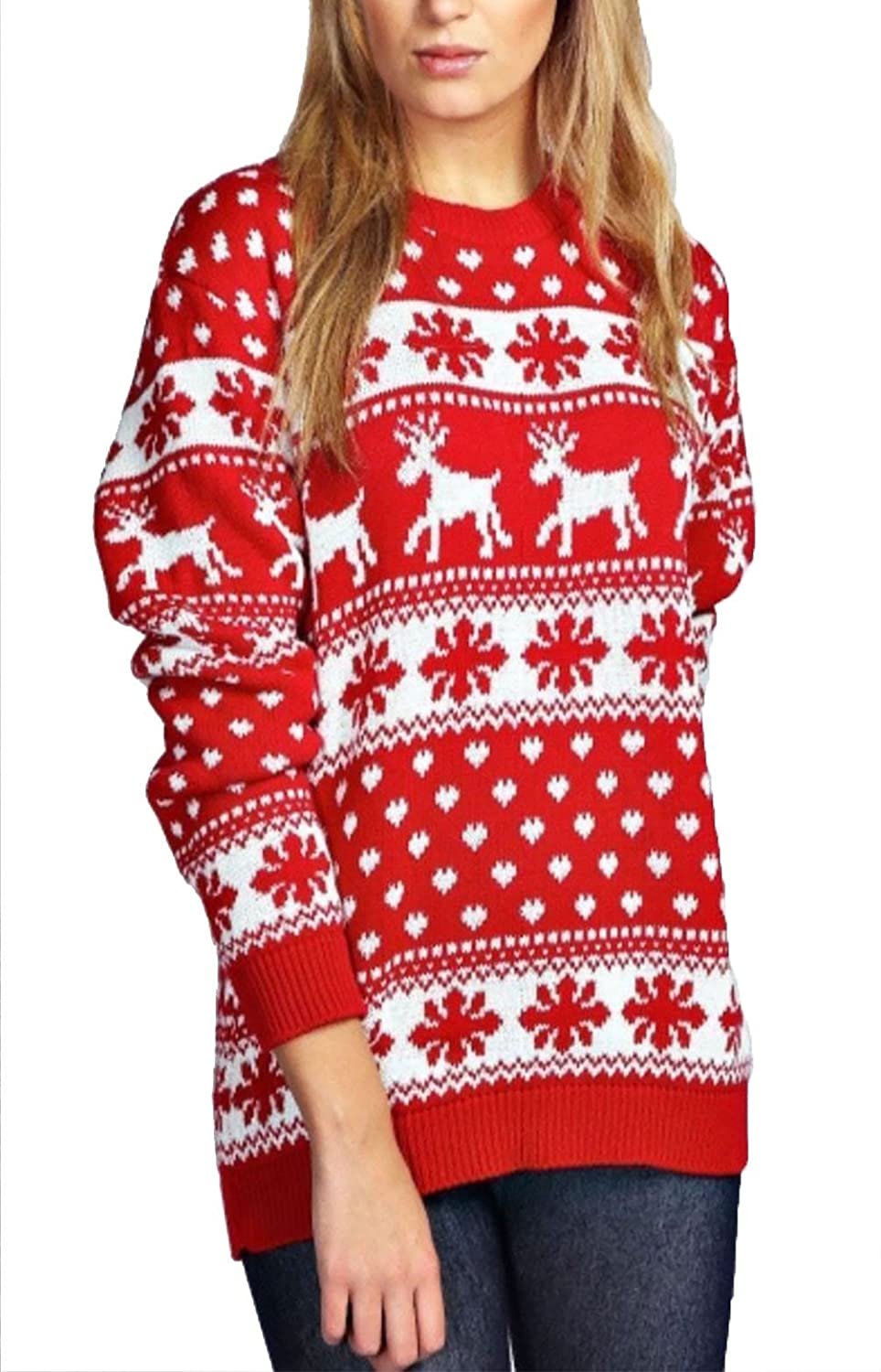Ladies Reindeer & Snowflake Christmas Jumper Womens Long Sleeve Sweater Jumper RIDDLED WITH STYLE