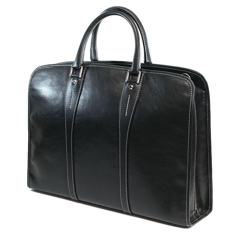 INDEED インディード ビジネスバッグ ヌメ革 三方ファスナー ショルダー付 B00GZJBHEINo.P100101 ブラック(Black)