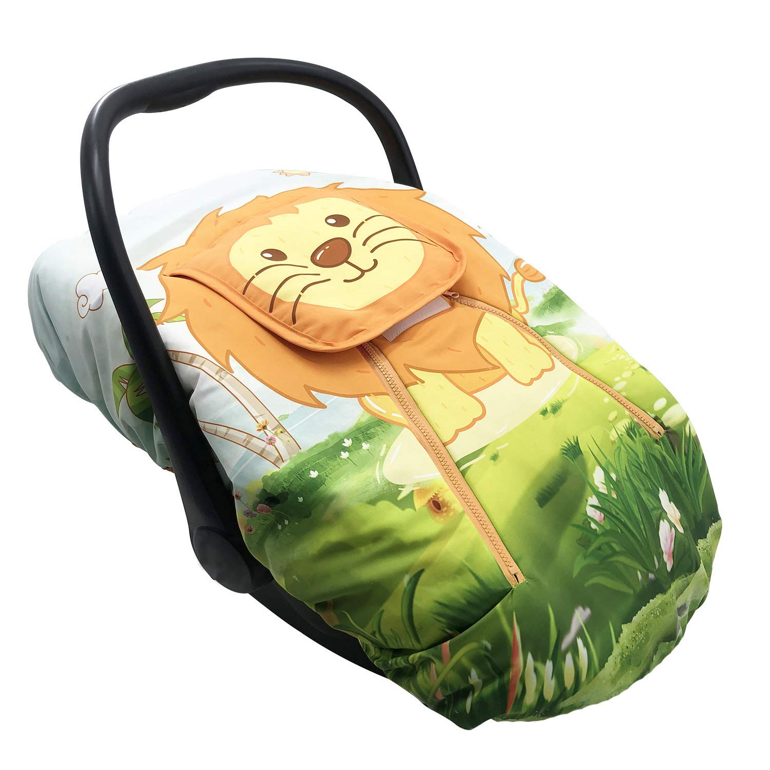Cute Cartoon Infant Car Seat Covers, Soft Warm Breathable and Windproof Canopy for Baby Car Seat (Cute Lion)