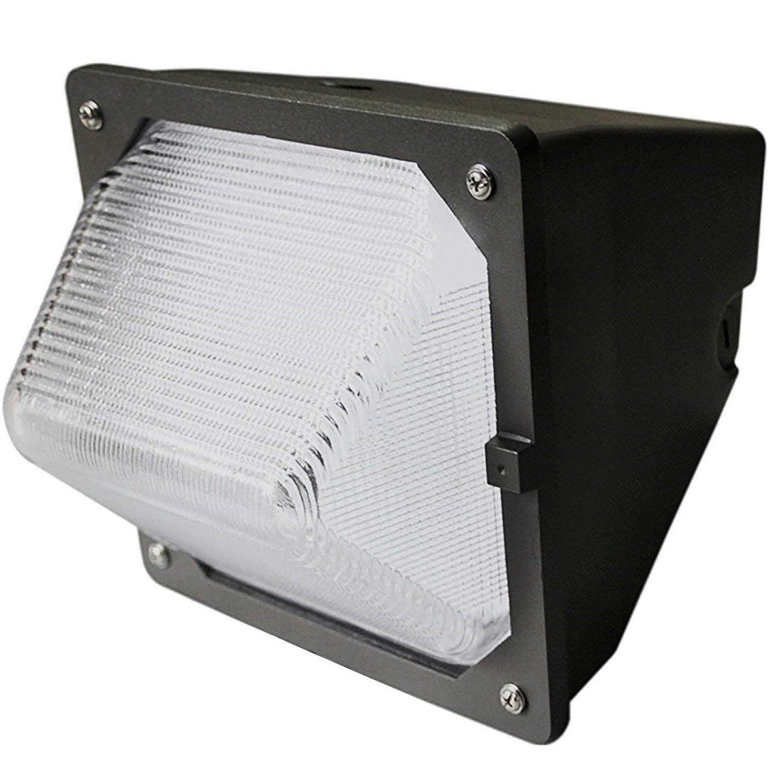 LED Wall-Pack Photo Cell Glass Lens- 30W 5000K Commercial Outdoor Light Fixture ( Out-Door Dusk to Dawn Sensor Security Porch Lighting For Industrial Out-Side Photocell )