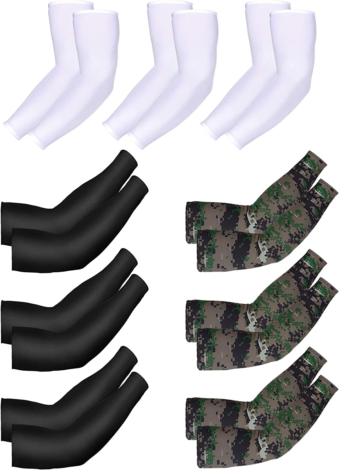 Mudder 9 Pairs Unisex UV Protection Sleeves Arm Cooling Sleeves Ice Silk Arm Sleeves Arm Cover Sleeves (Black, White, Camouflage)