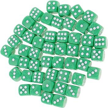 MagiDeal Set 50 Piezas D6 Dados Redondas 16mm Juegos de Mesa Juegos de Dados - Verde: Amazon.es: Juguetes y juegos