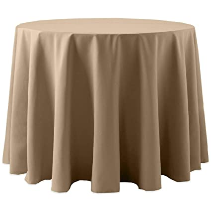 Superbe Ultimate Textile Cotton Feel 60 Inch Round Tablecloth Toast Light Brown