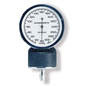 McKesson 01-809GM Entrust Performance Plus Blood Pressure Unit Gauge for Aneroid Sphygmomanometer, Black Body, White Face