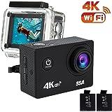 SSA 4K WIFI スポーツ カメラ HD 1200万画素30メートル防水170度広角レンズ2インチ LCD リモコンバイクや自転車/カート/車に取り付け可能 空撮やスポーツに最適 二つバッテリー&豊富な付属品付き