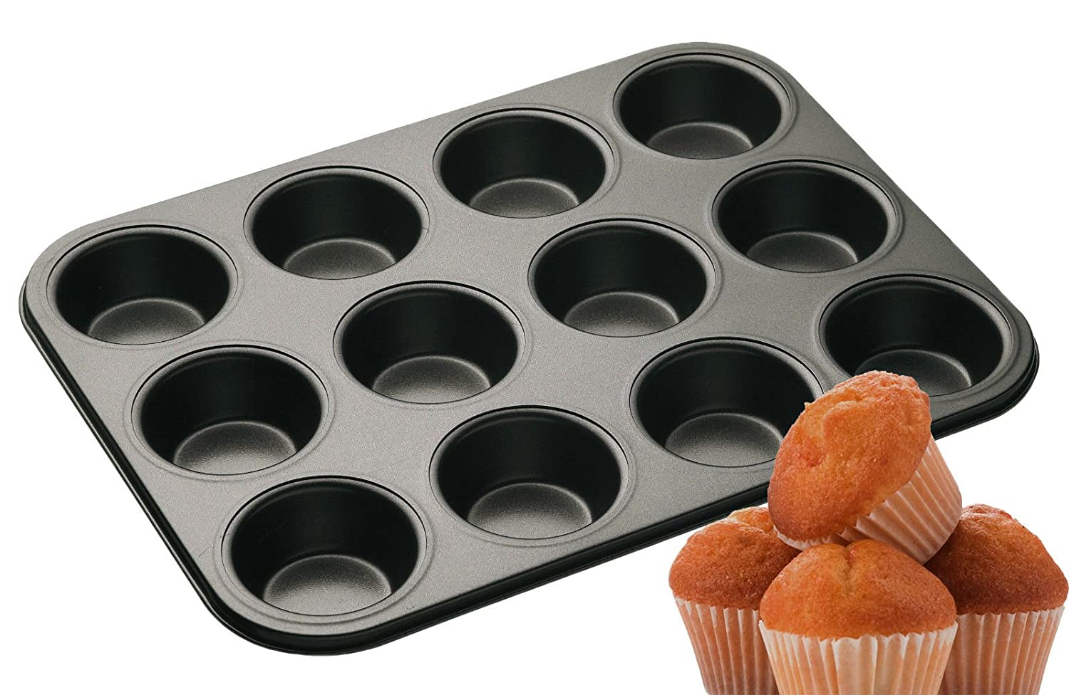 Non Stick 12 Cup Cake Deep Bun Muffin Pie Yorkshire Pudding Baking Tray Tin Pan NR PRIME