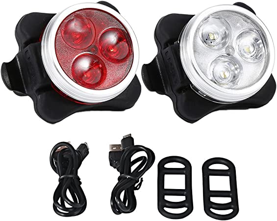 Bike Lights USB Rechargeable Cycling Bicycle Head Front Rear Tail Light Lamp UK