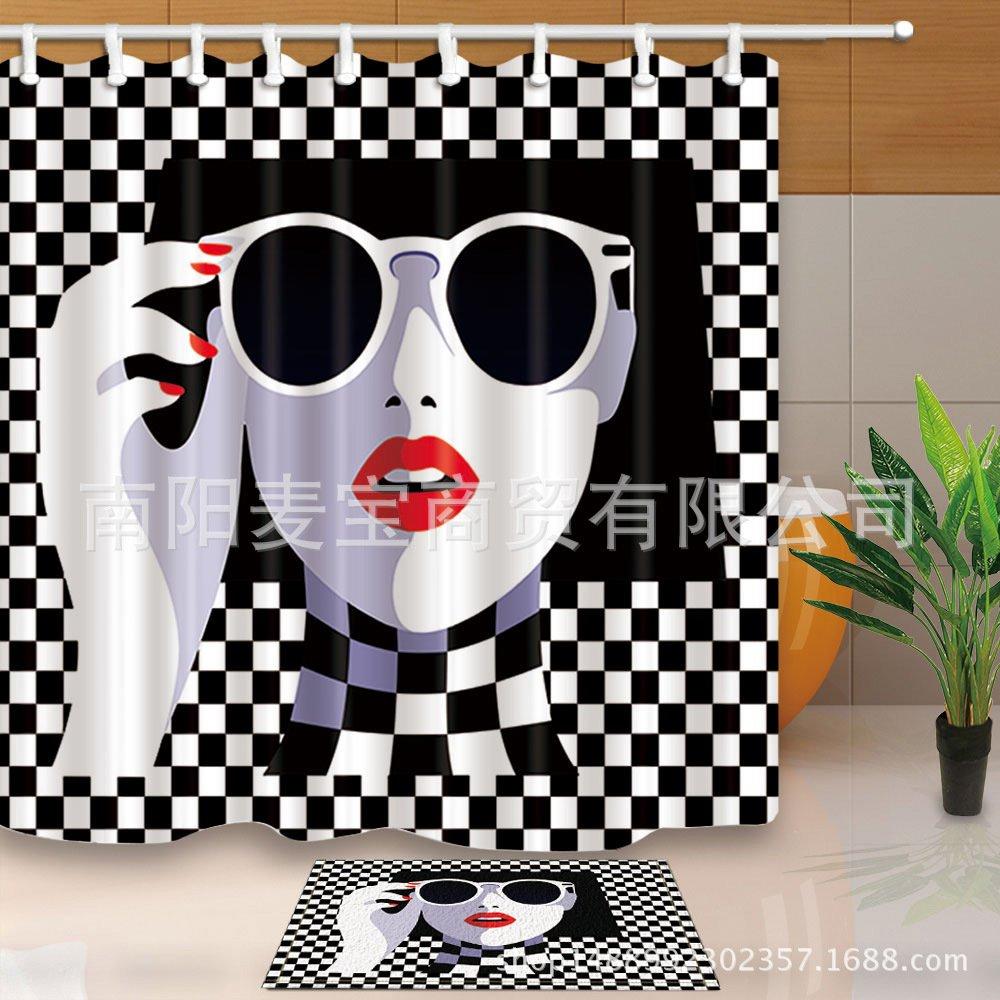 210,1 180,180 ABhomeyui Tende Disegno Elegante Tenda da Bagno Accessori da BagnoMaterasso per Tende da Bagno con materassino Bianco e Nero a Quadretti 180
