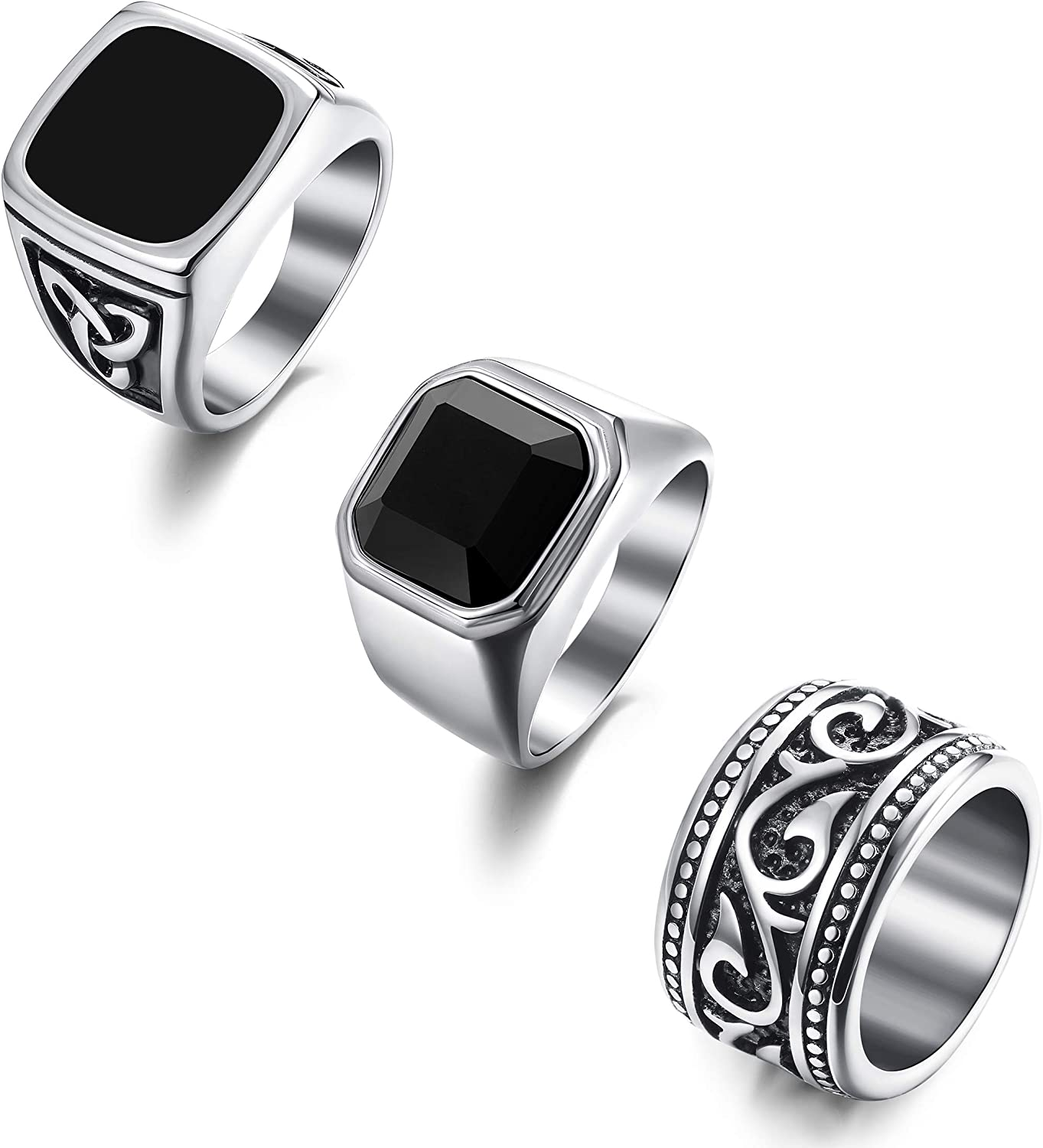 Florideco 3Pcs Stainless Steel Rings for Men Vintage Biker Band Rings Set Wide Signet Ring Size 7-13
