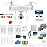 DJI Phantom 4 PRO Plus V2.0 Drone with 1-inch 20MP 4K Camera KIT with Built in Monitor, 3 Total DJI Batteries, 2 64gb Micro SD Cards, Reader, Guards, Range Extender with Charging Hub