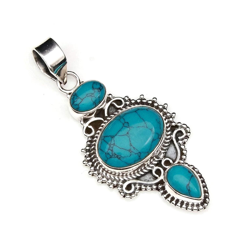 70-15 Türkis Anhänger 925 Sterlingsilber Kettenanhänger Medaillon blau grün