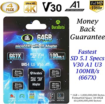 Multipack TF Card 64GB Micro SD Card 4 Pack Plus Adapter. Amplim High Speed 64 GB Class 10 MicroSDXC SDXC Mini Memory Card for Nintendo, Android Phone ...