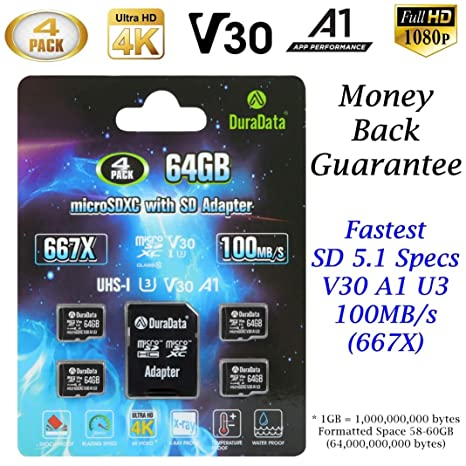 4-Pack 64GB Micro SD Card MicroSD XC V30 A1 U3 Plus Adapter – DuraData 4X  SDXC 100MB/s Class 10 C10 UHS-I 4K Full HD Video Memory Card Nintendo