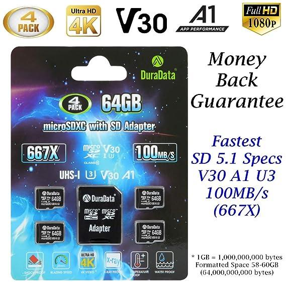 4-Pack 64GB Micro SD SDXC Card Plus Adapter – Amplim 4X 64 GB microSD TF Memory Card 100MB/s V30 A1 U3 UHD 4K Video for GoPro Camera Galaxy LG Moto ...