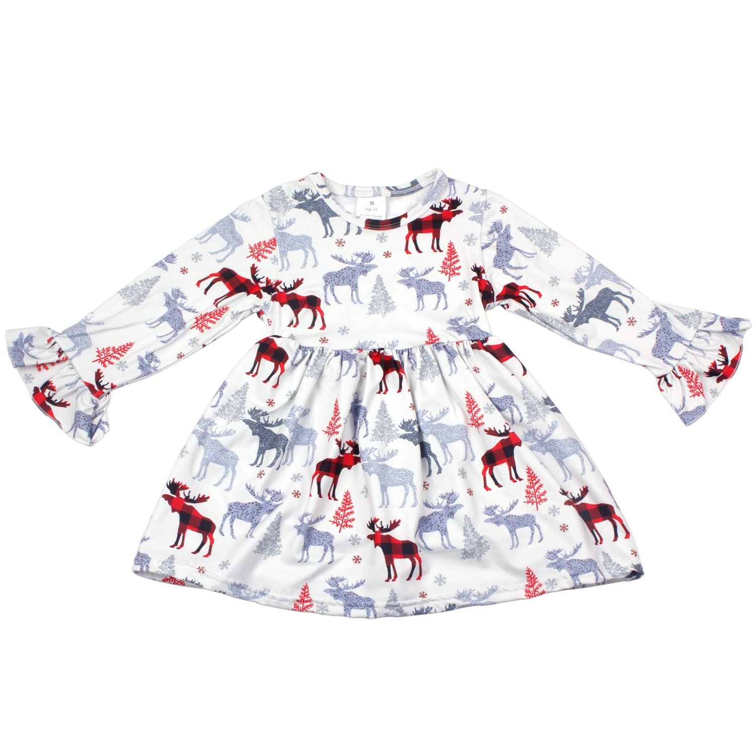4bad8d7618a03 ... and Flexible,It\'s feel very comfortable,Suitable for your children to  wear in the autumn and winter. Little girls Christmas tree & reindeer  printed ...