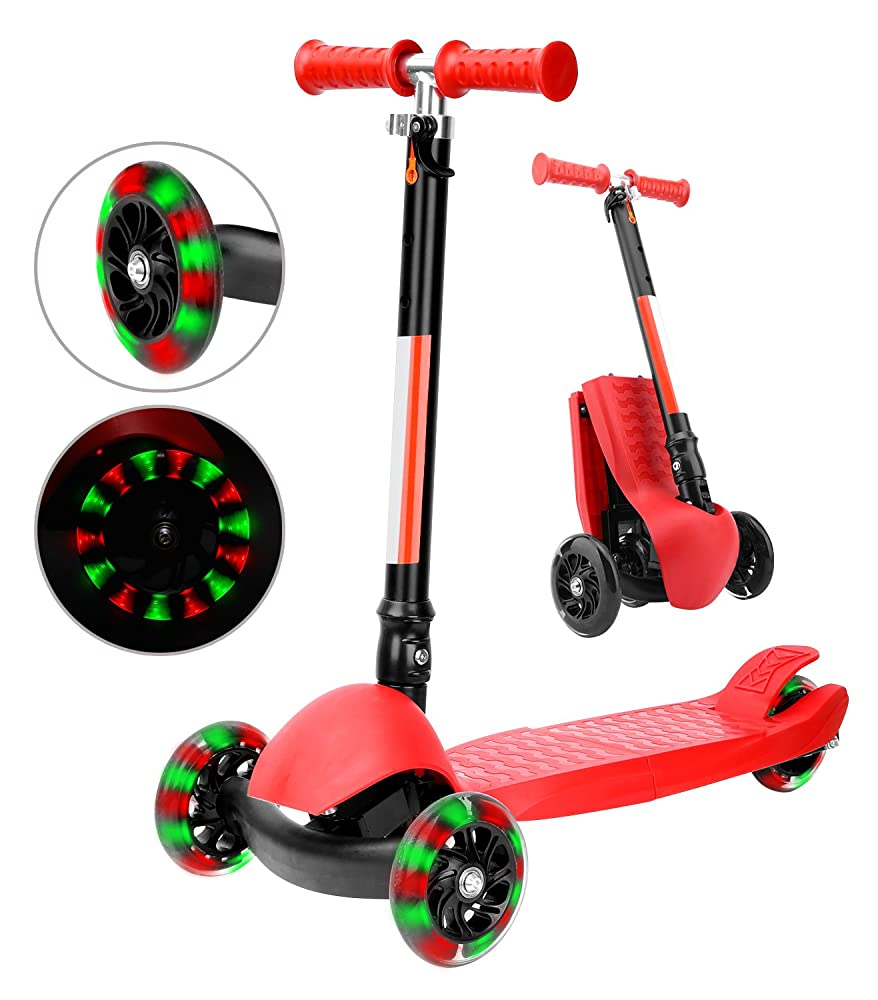Kick Scooter, Zooawa Foldable Height Adjustable Lean to Steer Pocket Bike with 3 Flashing PU Wheels for Kids - Red + Black